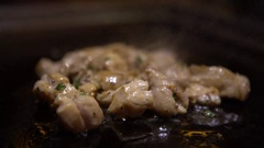 4K Cuisine chiken. Chef Cook a Raw chiken Meat Steak on the Grill-Dan Stock Footage
