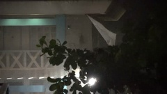 Trees Thrash In Strong Wind At Night As Tropical Storm Hits Stock Footage