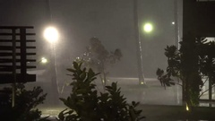 Torrential Rain And Strong Wind Pour Down At Night In Hurricane Stock Footage