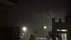 Torrential Rain Pours Down At Night As Tropical Storm Hits Land Stock Footage
