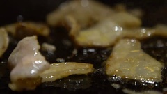 Slow Motion Cuisine pork steak. Chef Cook a Raw Pig Meat Steak on the Grill -Dan Stock Footage