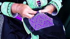 Embroider pattern colored thread. Stock Footage