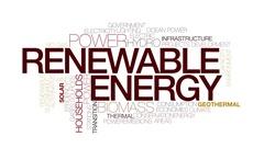 Renewable energy animated word cloud. Kinetic typography. Stock Footage