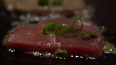 Slow Motion Cuisine beefsteak. Chef Cook a Raw Veal Meat Steak on Grill -Dan Stock Footage