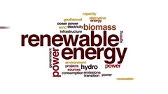 Renewable energy animated word cloud. Zoom out element. Stock Footage
