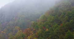 Pan of time lapse of clouds crossing over tayun mountains in autumn Stock Footage