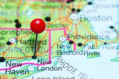 New London pinned on a map of Connecticut, USA Stock Photos