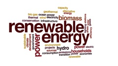 Renewable energy animated word cloud. 3d camera move. Stock Footage