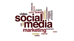 Social media animated word cloud. Zoom out element. Stock Footage