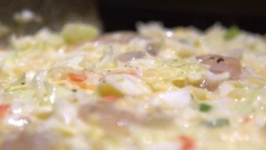 Slow Motion Okonomiyaki Japanese food. Cooking Monjayaki in Japan restaurant-Dan Stock Footage
