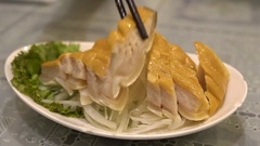 Slow Motion of a Dish of a Shark meat in asia, Cooked in chinese restaurant-Dan Stock Footage