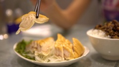 4K of Dish Smoked shark steak. Cooked in chinese restaurant. Shot in Taiwan-Dan Stock Footage