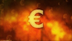 Euro rising on red background, currency gains value, financial crisis averted Stock Footage