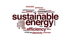 Sustainable energy animated word cloud. Flying words. Stock Footage