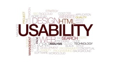 Usability animated word cloud. Kinetic typography. Stock Footage