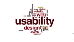 Usability animated word cloud. Zoom out element. Stock Footage