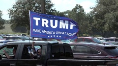 A Large Donald Trump Flag On Pick Up Truck Dade Cty Florida Nov 1, 2016 Stock Footage