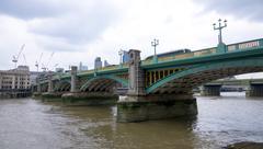 Beautiful south bank of River Thames at Southwark Stock Photos