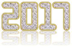 2017 digits composed of gems in golden rim Stock Illustration