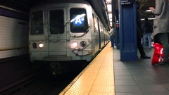 Slow Motion New York City Subway Train Pulling Into Station Arkistovideo
