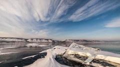 Time lapse of Ice hummocks on Baikal Stock Footage
