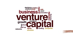 Venture capital animated word cloud. Zoom out element. Stock Footage