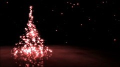 Sparkling Christmas Tree Animation - Loop Red Stock Footage
