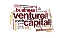 Venture capital animated word cloud. 3d camera move. Stock Footage
