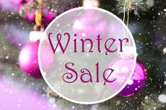 Rose Quartz Christmas Balls, Text Winter Sale Stock Photos