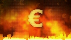 Euro sign zoom in on red background, financial crisis, debt default, monopoly Stock Footage