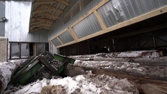 Timber mill in winter time. View of conveyor Stock Footage