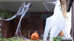 House with Halloween decorations Stock Footage