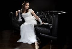 Modern Bridal Fashion Showing Wedding Dress Stock Photos