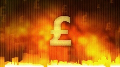 Pound sign pulsing on fiery background, money rules the world, greed, obsession Stock Footage