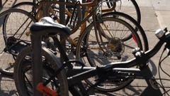 Tilt up bikes locked up Stock Footage