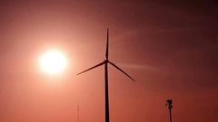 Wind Turbine at Sunset Stock Footage