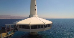 The Underwater Observatory in Eilat - crane up  Stock Footage