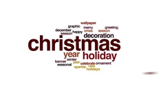 Christmas animated word cloud. Zoom out element. Stock Footage