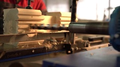 View of machine tool with drill for woodworking Stock Footage