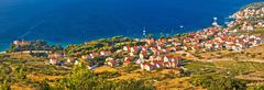 Bol on Brac island panoramic aerial view, Dalmatia, Croatia Stock Photos