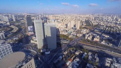 Time lapse - Central Tel Aviv skyline with traffic Stock Footage