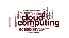 Cloud computing animated word cloud. Flying words. Stock Footage