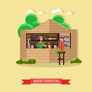 Beer festival concept vector illustration. People drink in outdoor restaurant Stock Illustration