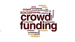 Crowdfunding animated word cloud Stock Footage