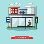 Man waiting for a public transport at bus stop. City urban landscape vector Piirros