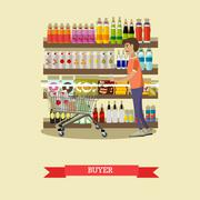 Male customer buying food in grocery store. Vector concept poster Piirros