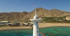 Top of the underwater observatory in Eilat Stock Footage