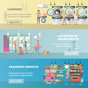 Vector set of cleaning service concept banners Piirros