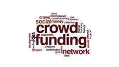 Crowdfunding animated word cloud. Flying words. Stock Footage