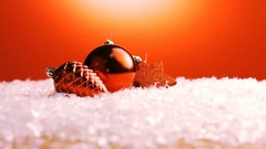 Christmas decorations on snow Stock Footage